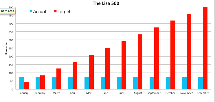 Lisa's 500 in 2015 progress