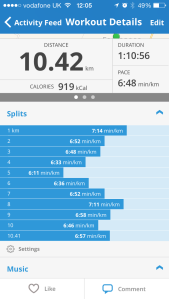 First 10km post holiday splits