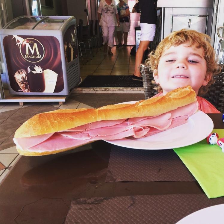 Huge delicious baguette at Monaco Bar