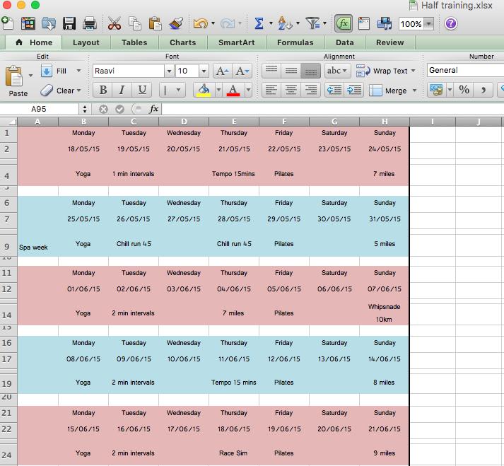 My half marathon spreadsheet