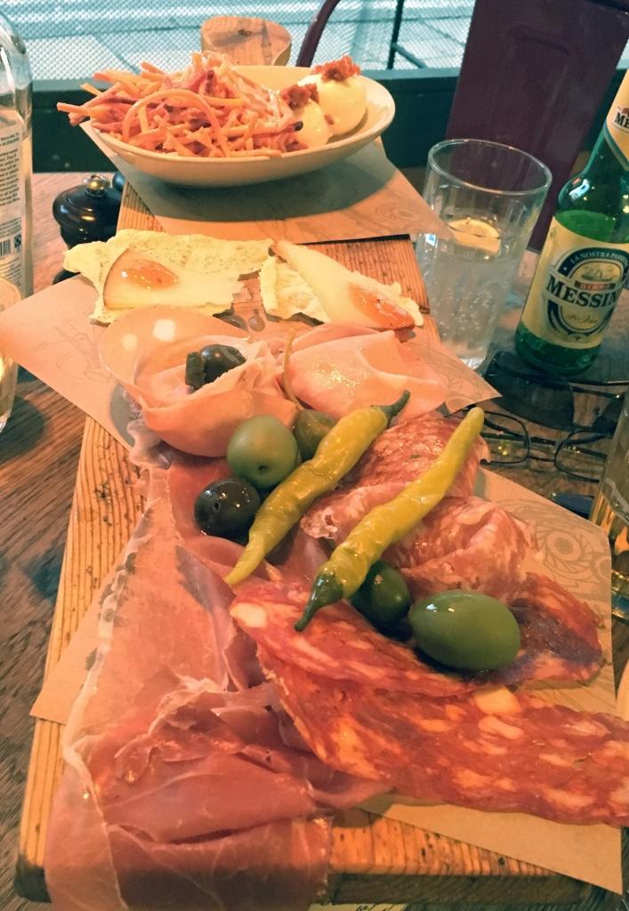 Meat plank starter at Jamie's Italian